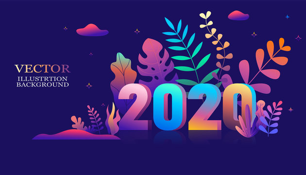 2020 year font ,Vector illustration in trendy flat style and bright vibrant gradient colors ,plants, leaves, trees and sky - background for banner, greeting card, poster