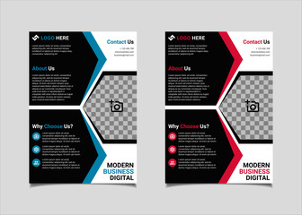 Business flyer template vector design, A4 brochure template blue and pink geometry shapes used for business poster layout, IT Company flyer, corporate banners, and leaflets