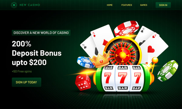 Web banner or poster design with 3d casino elements such as slot machine, roulette machine, chips, crown and playing cards on green background.