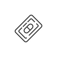 Blister with pills, tablets line icon. linear style sign for mobile concept and web design. Medicine blister pack outline vector icon. Symbol, logo illustration. Vector graphics