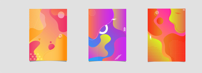 Advertising template, flyer or brochure layout collection with colorful fluid art abstract.