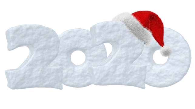 2020 Happy New Year snow text and Santa Claus red hat