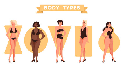 Female body shapes set. Triangle and rectangle