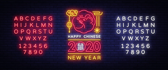 Chinese New Year 2020 Neon Sign Vector. Year of Rat Design Template. Chinese zodiac symbol of 2020 Vector Design. Hieroglyph means Rat. Holiday banner, Greetings neon card. Editing text neon sign Fototapete
