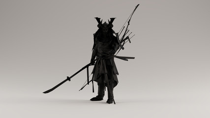 Black Samurai made out of Polygon Triangles with a Lattice Frame 3d illustration 3d render