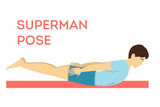 Superman yoga pose. Fitness exercise for training