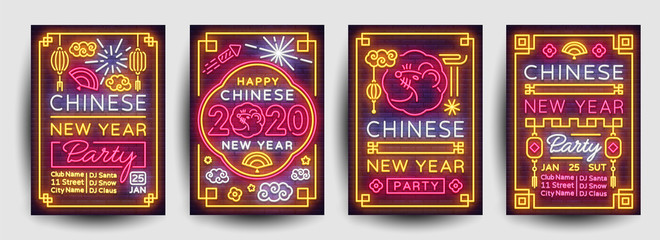 Chinese New Year 2020 Party Poster set in neon style. Collection Neon signs, bright poster, bright banner, invitation, postcard. Design party invitation template. Vector illustration