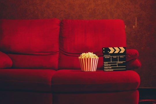 red sofa in cinema