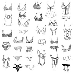Collection of lingerie. Panty and bra set. Body. Vector illustrations. - Vector