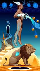 Poster Chambre d enfant Binomial Leo Aquarius, two zodiacal opposites.