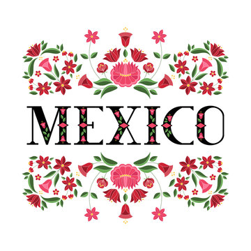 Mexico illustration vector. Background with traditional floral pattern from mexican embroidery ornament for independence day card, travel banner or tourist flyer design.