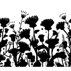 Wall Mural - Silhouettes of flowers and grass, vector illustration. Seamless pattern