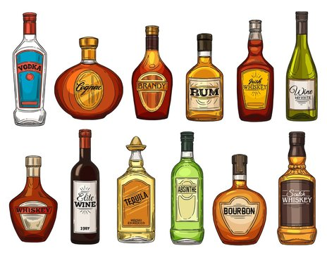 Alcohol drink isolated vector bottles