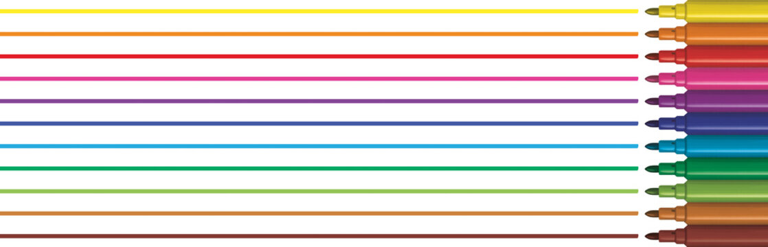 Colorful markers draw lines. Panoramic header illustration. Felt pen draws line in horizontal.