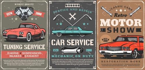 Retro cars tuning service, motors show