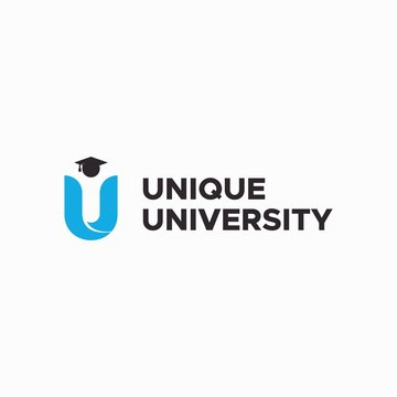 letter U for unique university logo design