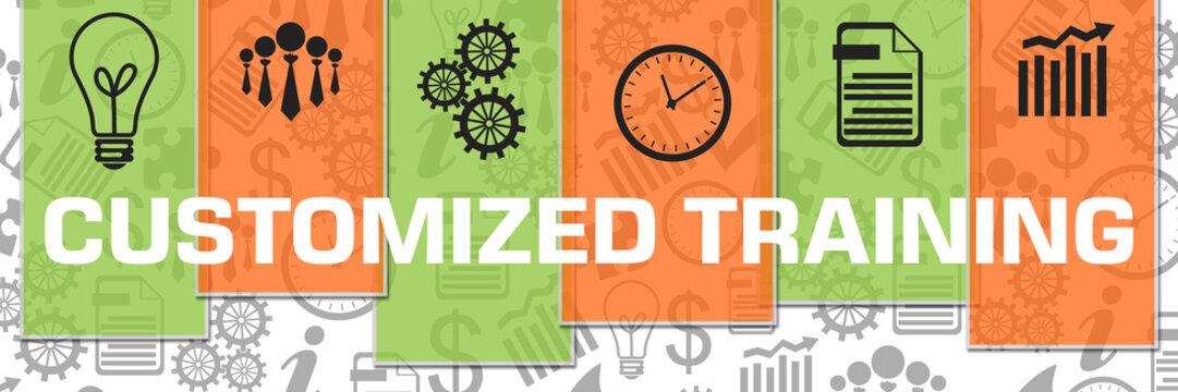 Customized Training Business Symbols Green Orange Texture Stripes