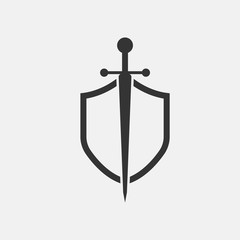 shield and sword icon isolated vector trend