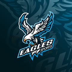 eagle mascot logo design vector with modern illustration concept style for badge, emblem and tshirt printing. angry eagle illustration for sport team.