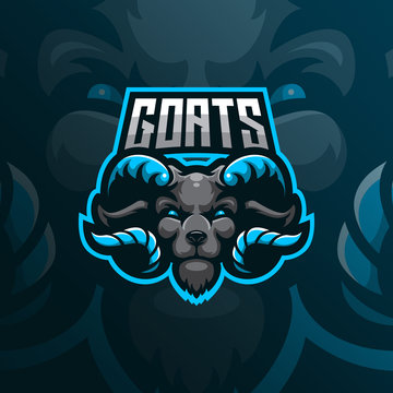 goat mascot logo design vector with modern illustration concept style for badge, emblem and tshirt printing. goat head illustration for sport team.