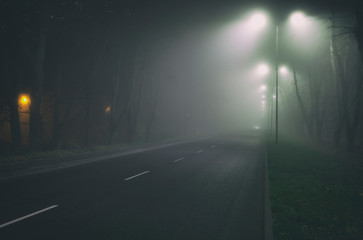 The thick fog above the asphalt road in the night in the city