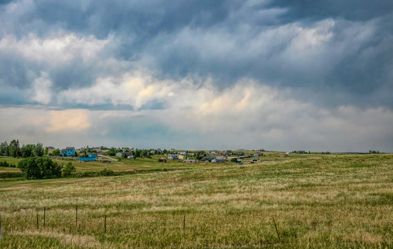 Storm over the plains of the midwestern United States. Farm and stormy sky