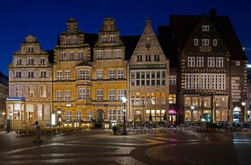 Bremen, Marktplatz am Abend