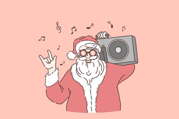 Winter holiday celebration concept. Stylish Santa Claus with boombox on shoulder, santa listening to music, showing rock n roll gesture, new year and Christmas party. Simple flat vector