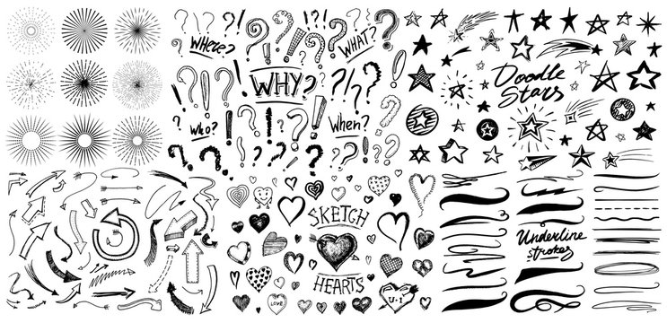 Question exclamation mark, underline and hearts, Star and Marker Brush, artistic lines and strokes. Collection of icons and signs Why. Hand drawn Doodle sketch. Abstract Chaotic grunge Elements.