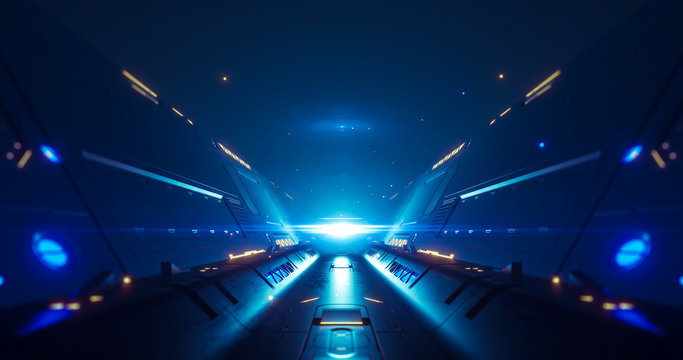 Abstract concept of sci-fi corridor. 3d neon light animation tunnel. 3d render