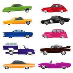 Papiers peints Cartoon voitures Car vector vintage low rider auto and retro old automobile transport illustration set of classic lowrider muscle vehicle rod transportation isolated on white background