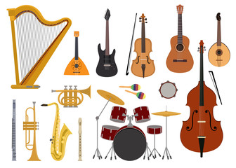 Musical instruments vector music concert with acoustic guitar balalaika and musicians violin harp illustration set wind instruments trumpet saxophone flute isolated on white background Wall mural