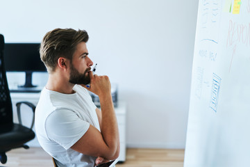 Portrait of young web developer looking at whiteboard with website wireframe ideas and thinking