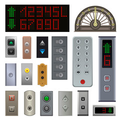Elevator buttons vector lift metal push button up down on digital control panel numbers in business office building illustration set level at hotel elevator panel isolated on white background
