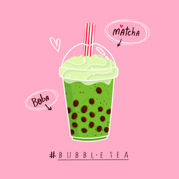 Matcha Bubble tea. Milk tea with tapioca pearls. Boba tea. Asian Taiwanese drink. Hand drawn colored trendy vector illustration with text. Cartoon style. Flat design. Beverage recipe