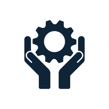 Hands with cog wheel or gear icon.
