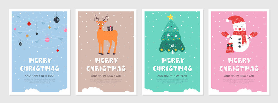 Set of Christmas and New year snow postcards. Flat holiday postcard template. Collection color postcards with deer, christmas tree, christmas decoration and snowman