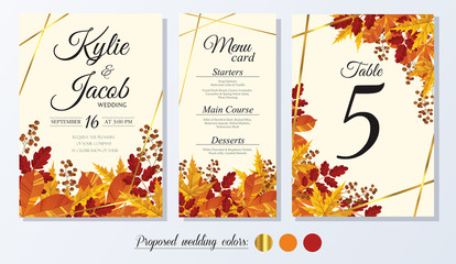 Wedding Invitation, menu card, table number. Leafy design autumn foliage collection oak, maple, chestnut and ash. Decorative frame print. Vector elegant cute rustic greeting, invite postcard. Wall mural