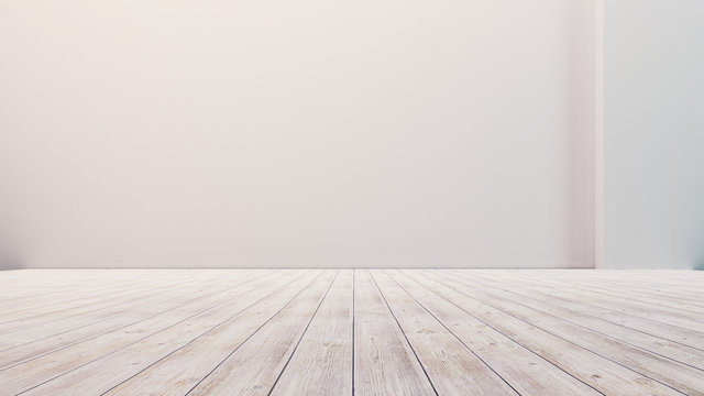Empty floor with white walls and floor. Empty room studio gradient used for background and display your product. 3d illustration