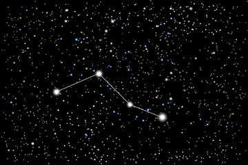 Vector illustration of the constellation Caelum (chisel) on a starry black sky background. The astronomical cluster of stars in the Southern Celestial Hemisphere