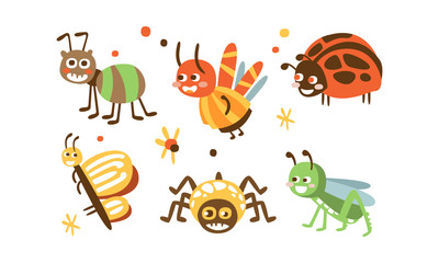 Fototapete - Cute Insects Set, Ladybug, Beetle, Ant, Spider, Butterfly, Grasshopper Childish Prints Vector Illustration