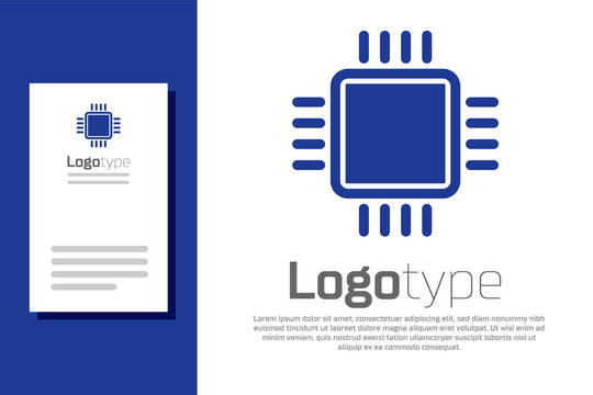 Blue Computer processor with microcircuits CPU icon isolated on white background. Chip or cpu with circuit board sign. Micro processor. Logo design template element. Vector Illustration