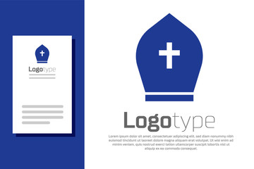 Blue Pope hat icon isolated on white background. Christian hat sign. Logo design template element. Vector Illustration