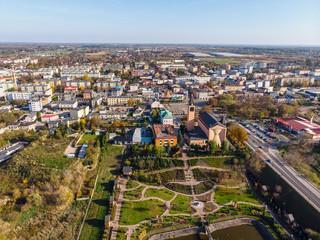 Sochaczew, widok z lotu ptaka na centrum miasta