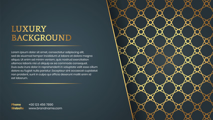 Islamic Arabic Luxury Style Golden Frame Background with Space for Text