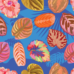 Wall Mural - Vivid realistic vector leaves seamless blue background