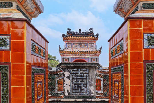 View on the ghost iris through exit from the tomb, gravesite. Old Imperial City in Hue, Vietnam