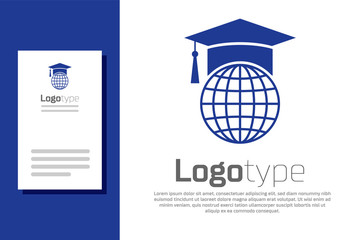 Blue Graduation cap on globe icon isolated on white background. World education symbol. Online learning or e-learning concept. Logo design template element. Vector Illustration