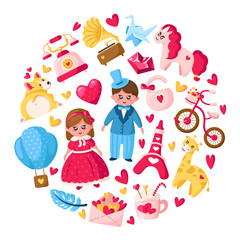 Photo sur Toile Chateau Cute cartoon valentines day