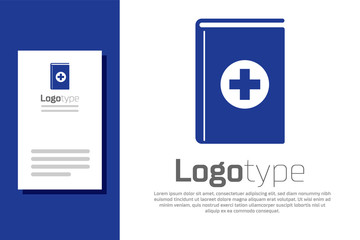 Blue Medical book icon isolated on white background. Logo design template element. Vector Illustration